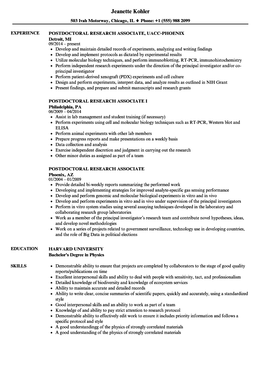 Postdoctoral Research Associate Resume Samples | Velvet Jobs