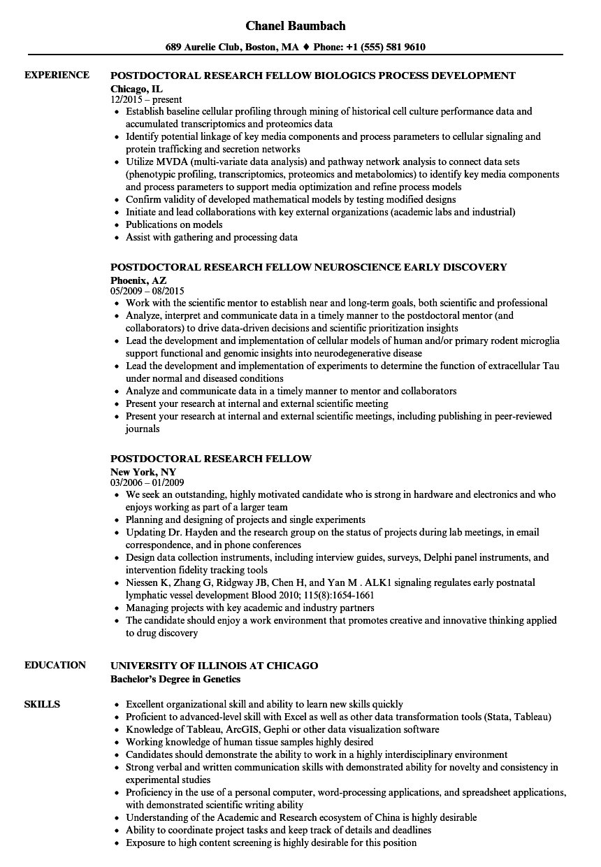 Postdoctoral Research Fellow Resume Samples | Velvet Jobs
