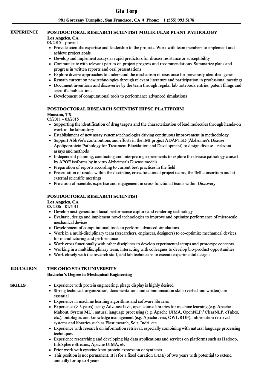 postdoctoral research scientist resume samples