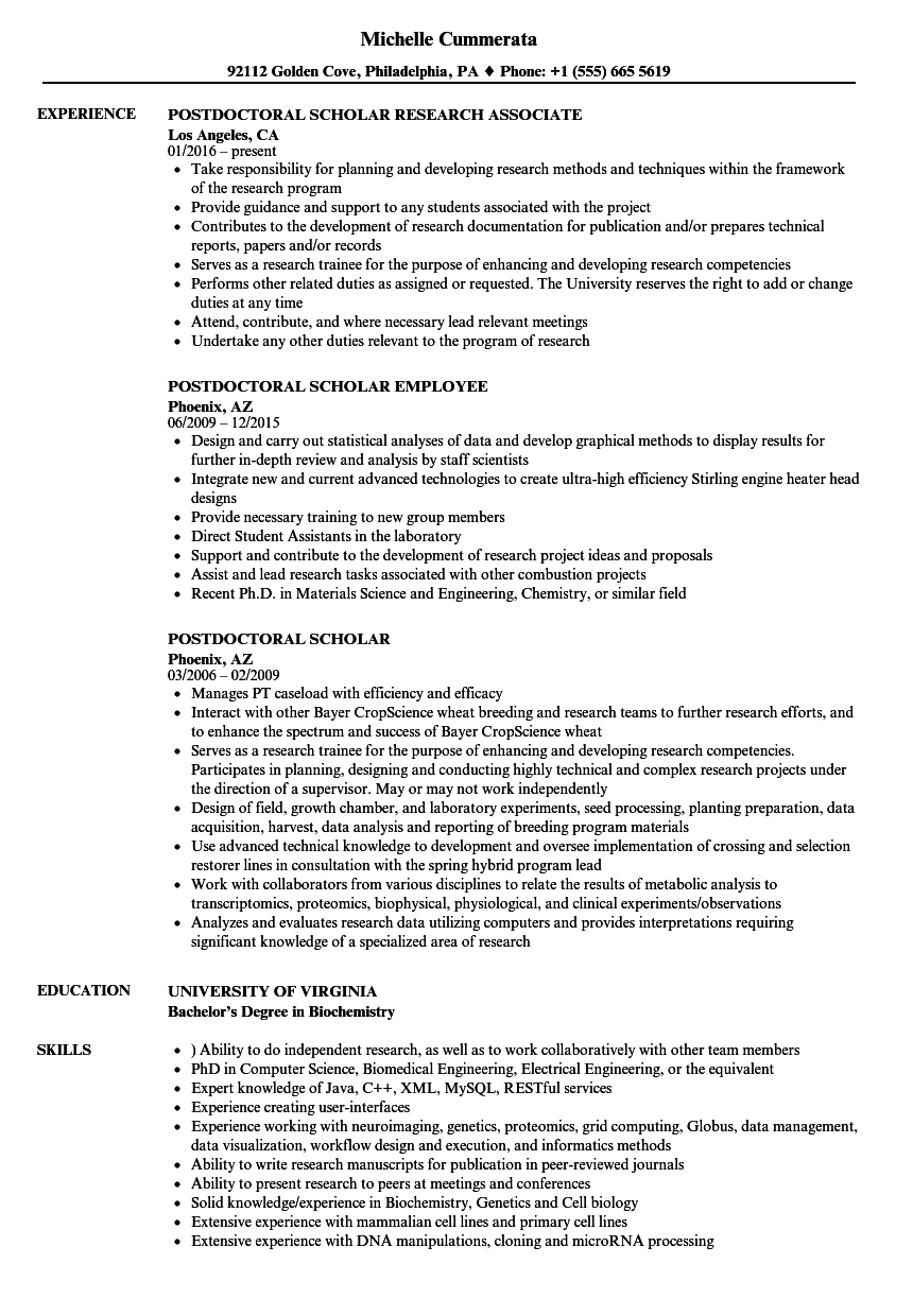 Postdoctoral Scholar Resume Samples | Velvet Jobs
