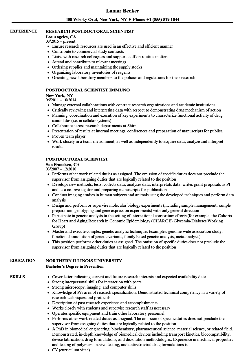 Postdoctoral Scientist Resume Samples | Velvet Jobs