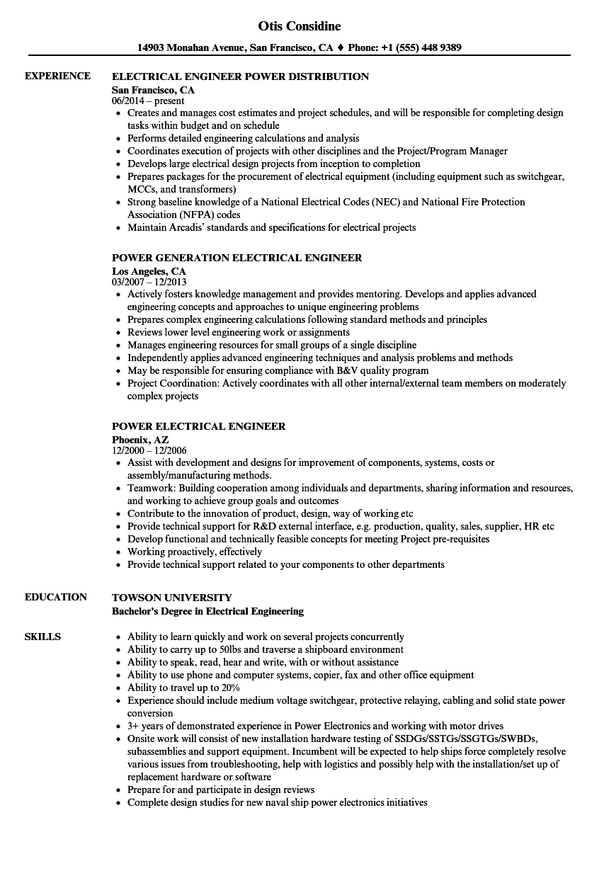 Power Electrical Engineer Resume Samples Velvet Jobs