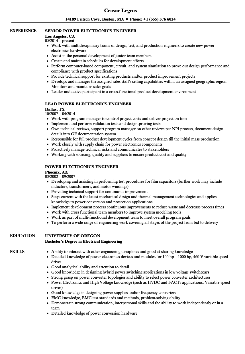 power electronics engineer resume samples