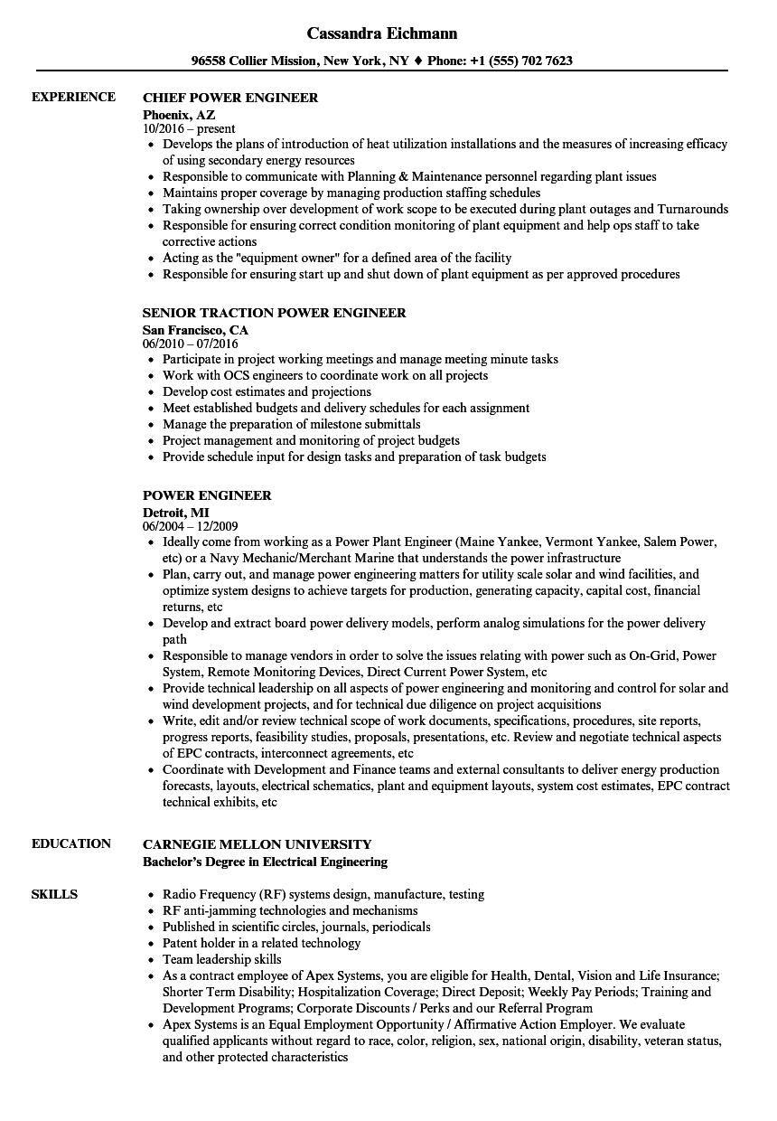 power engineer resume samples velvet jobs