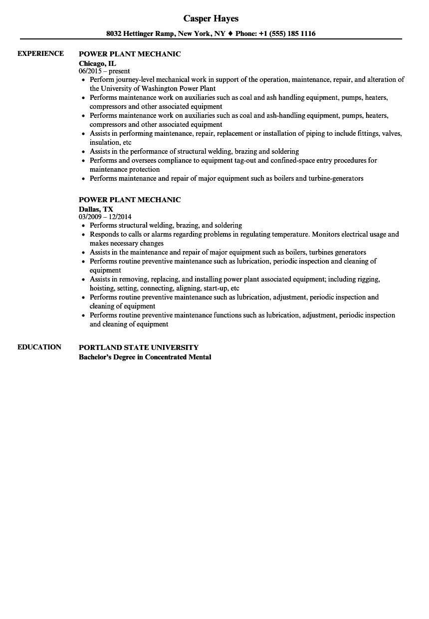 power plant mechanic resume samples