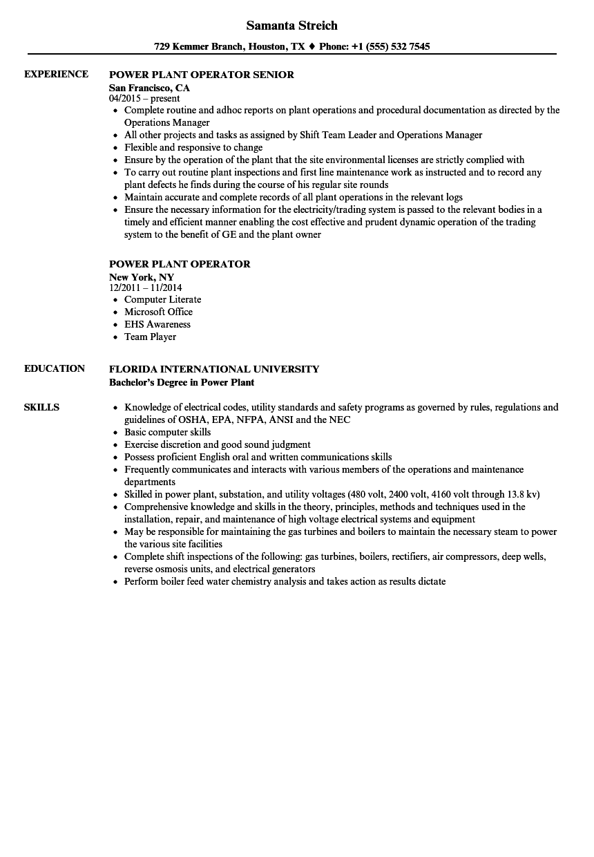 Power Plant Operator Resume Samples | Velvet Jobs