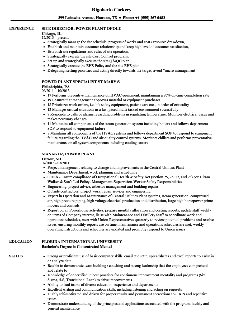 Download Power Plant Resume Sample As Image File