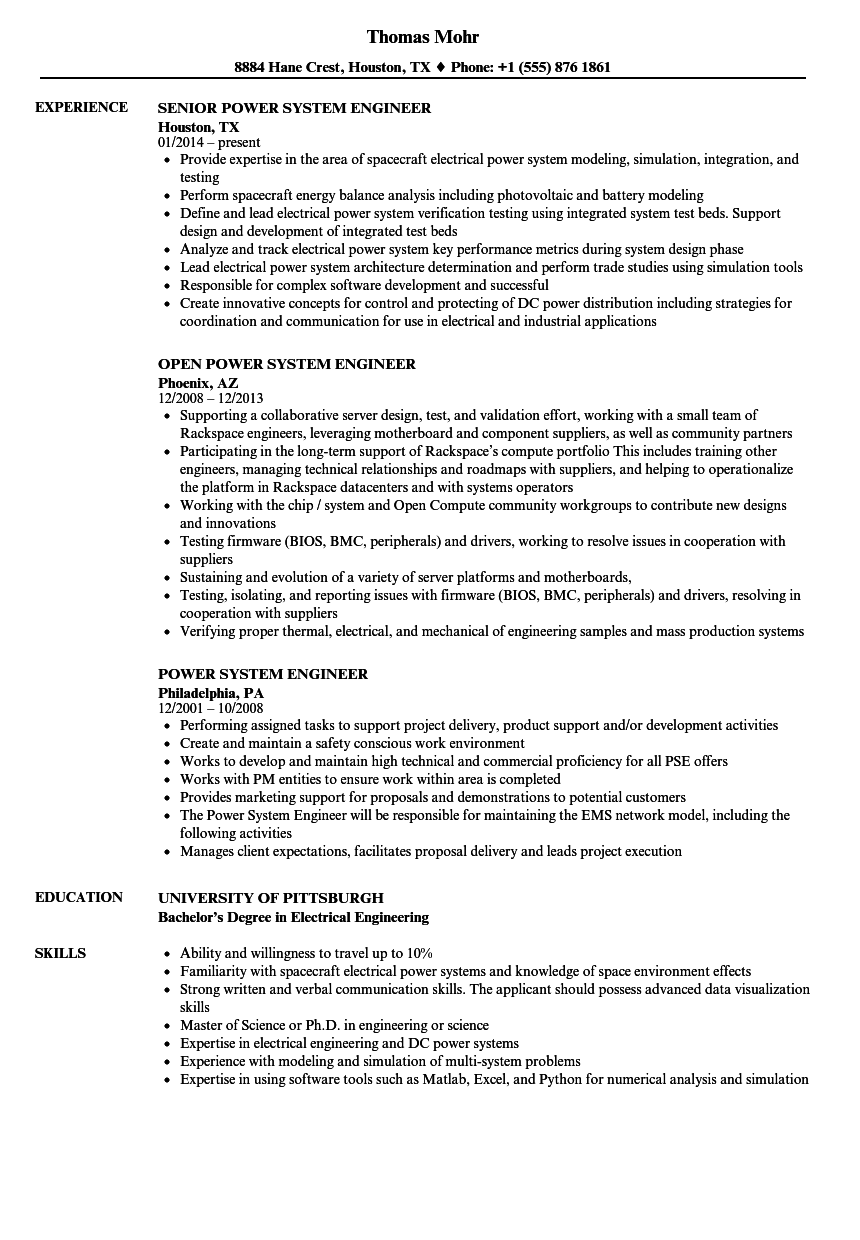power system engineer resume samples