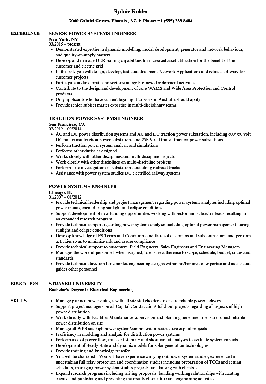 Power Systems Engineer Resume Samples | Velvet Jobs