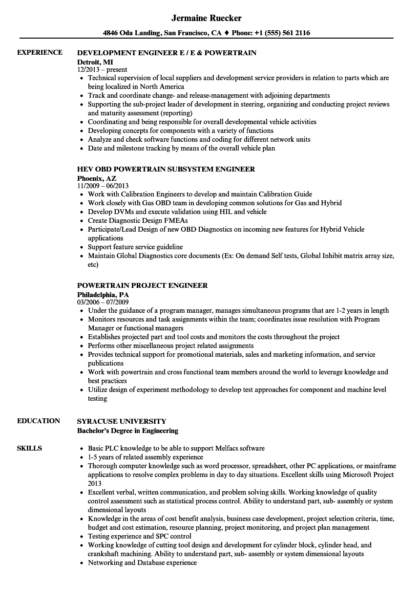 Powertrain Engineer Resume Samples Velvet Jobs