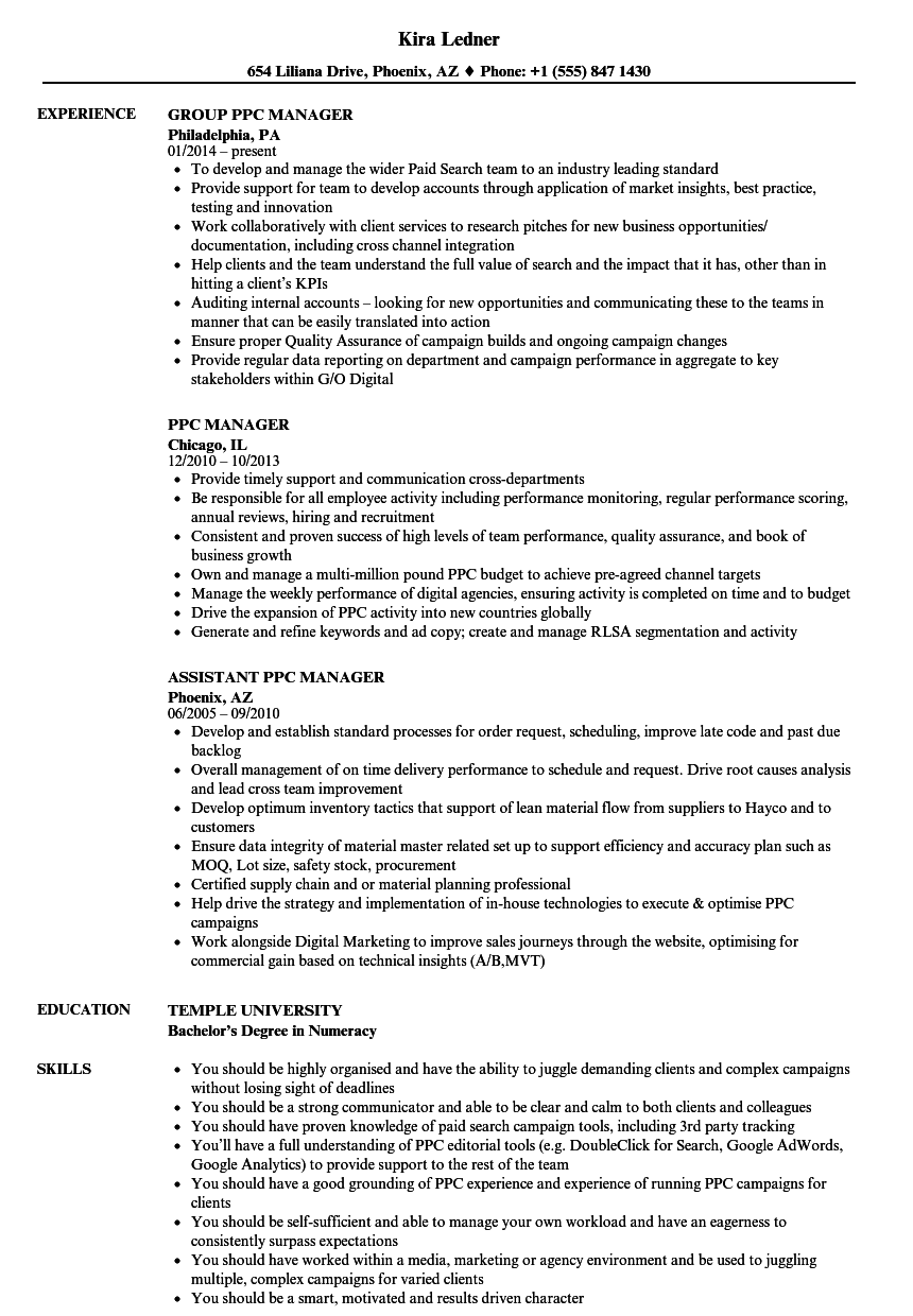 PPC Manager Resume Samples | Velvet Jobs