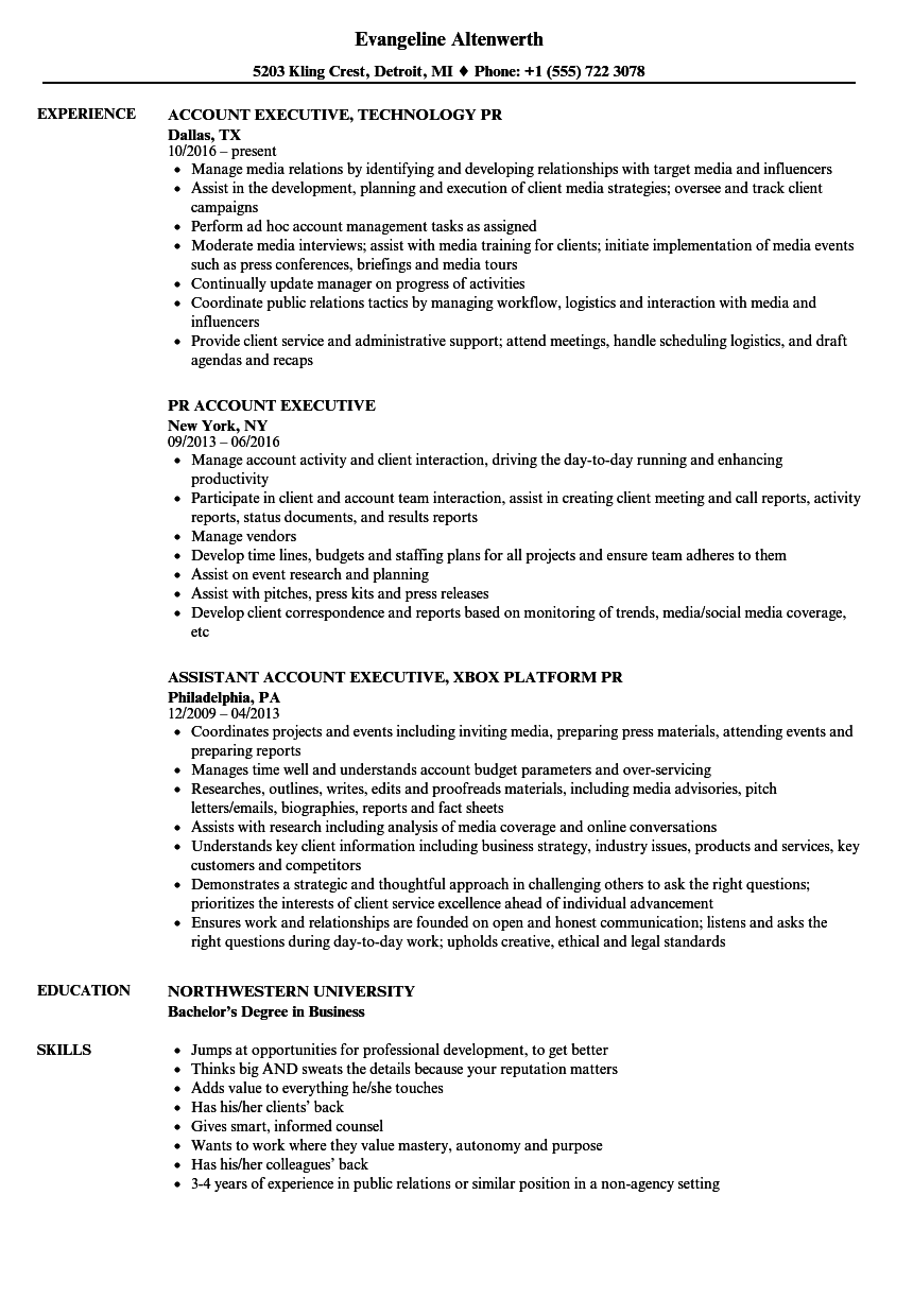 Pr Account Executive Resume Samples Velvet Jobs