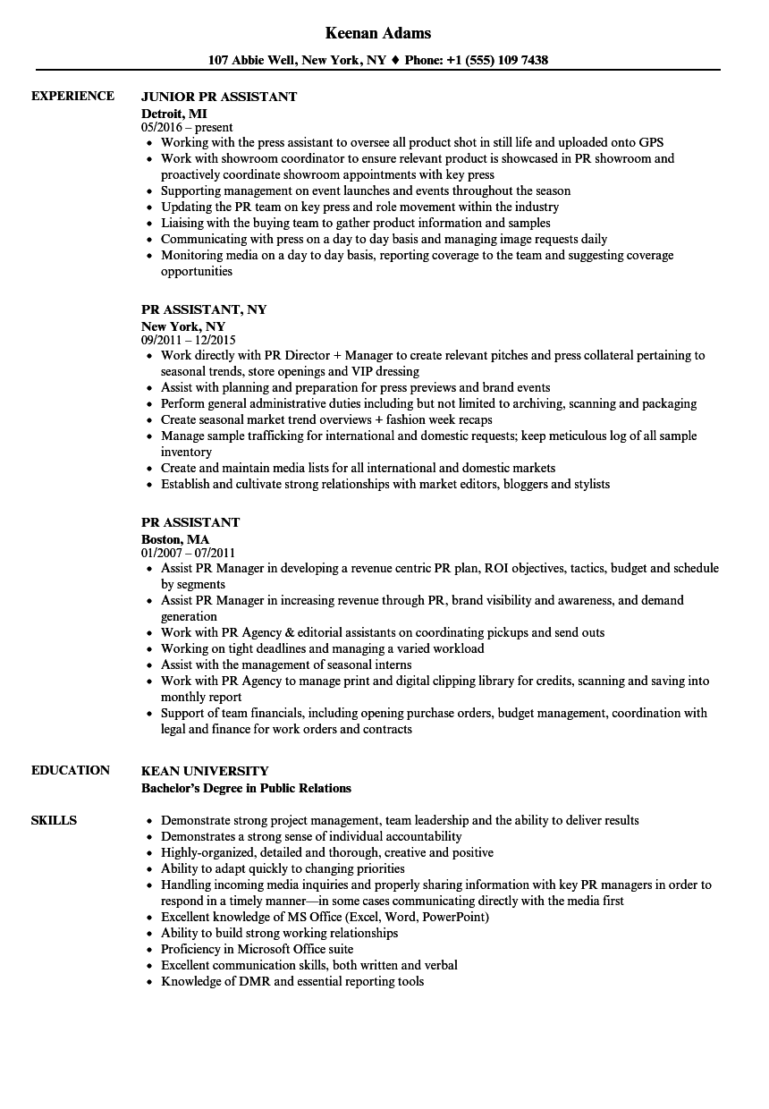 pr assistant resume samples