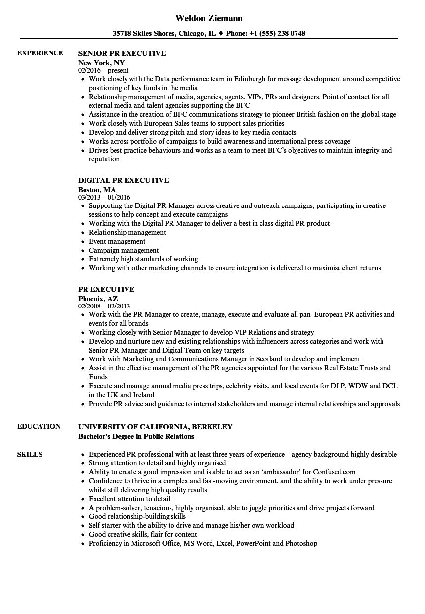 pr executive resume samples