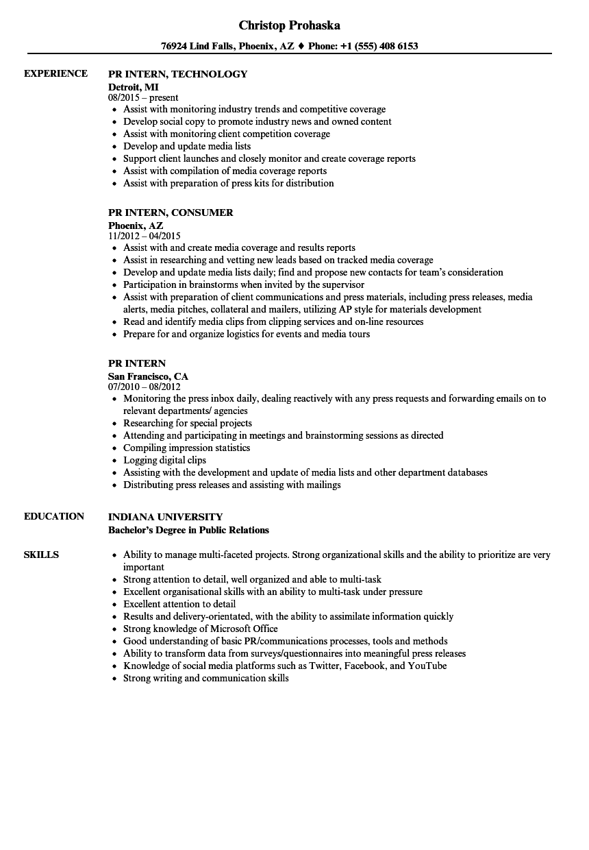 Download PR Intern Resume Sample As Image File