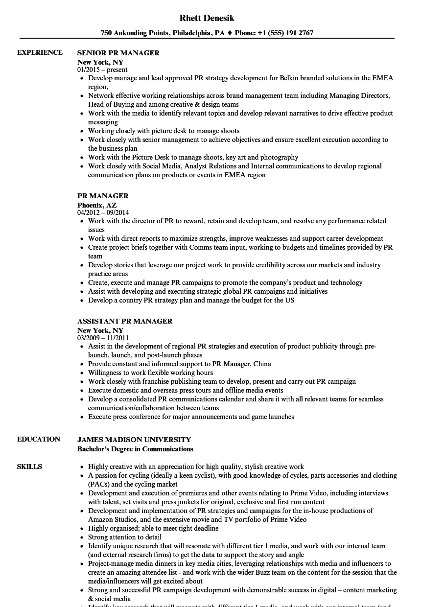 pr manager resume samples velvet jobs