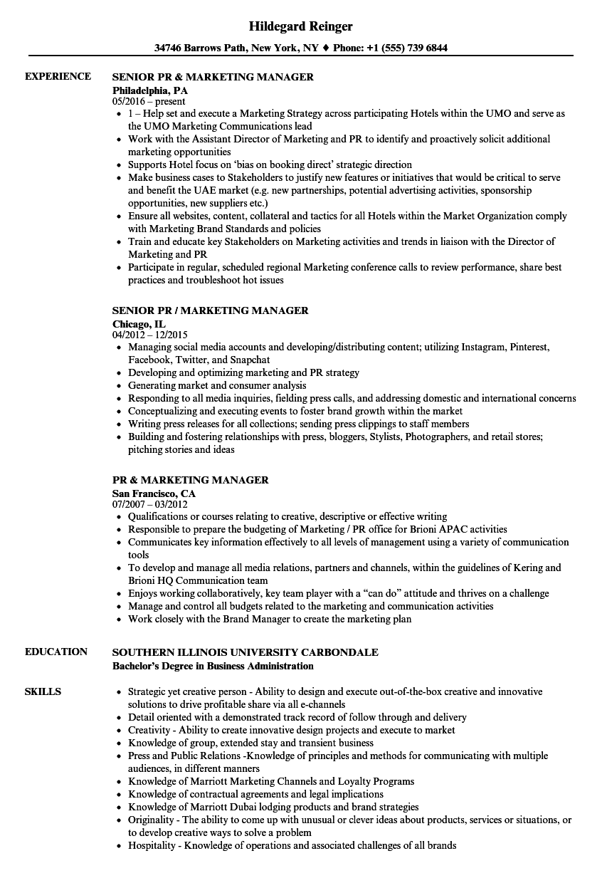 pr    marketing manager resume samples