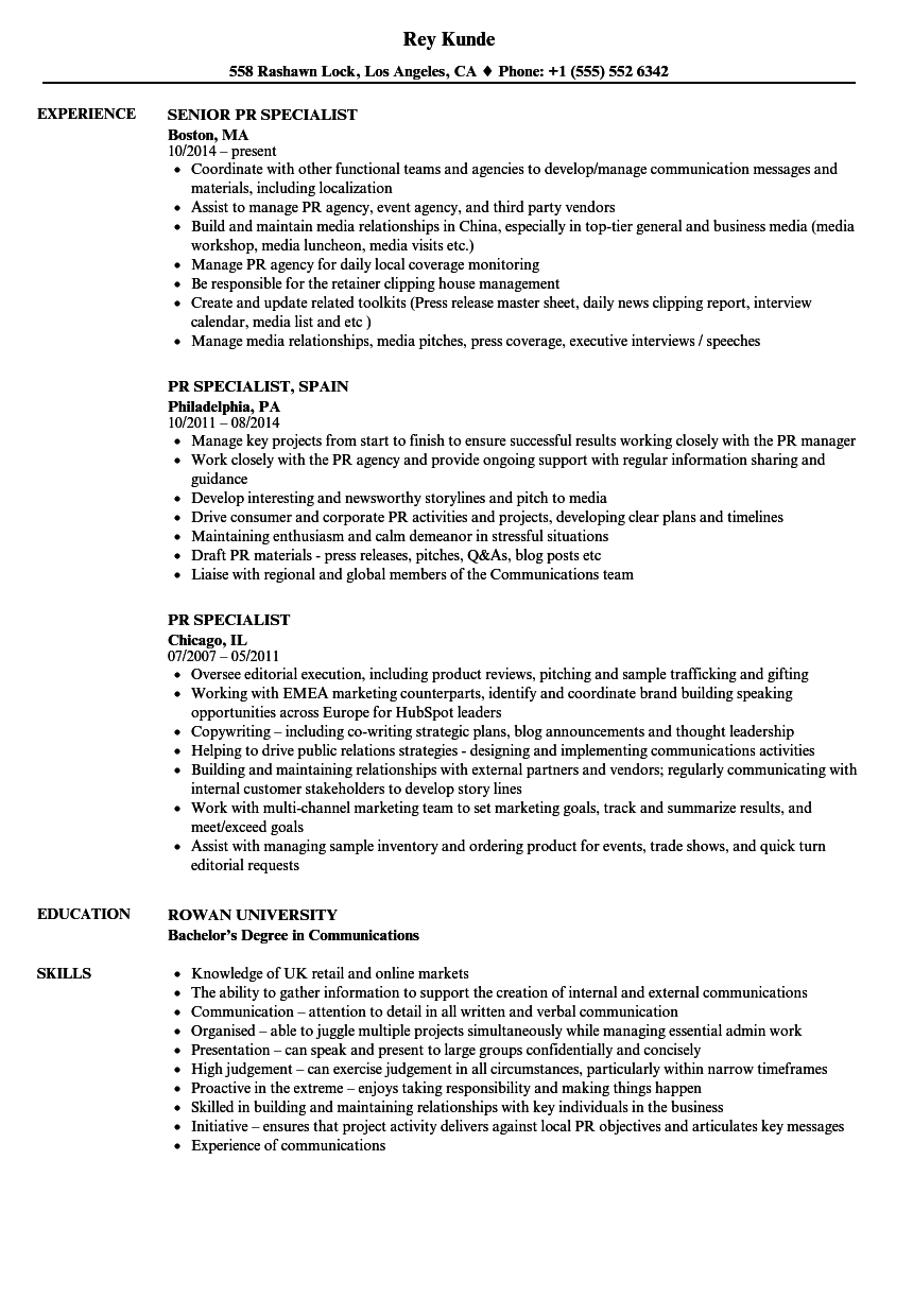pr specialist resume samples