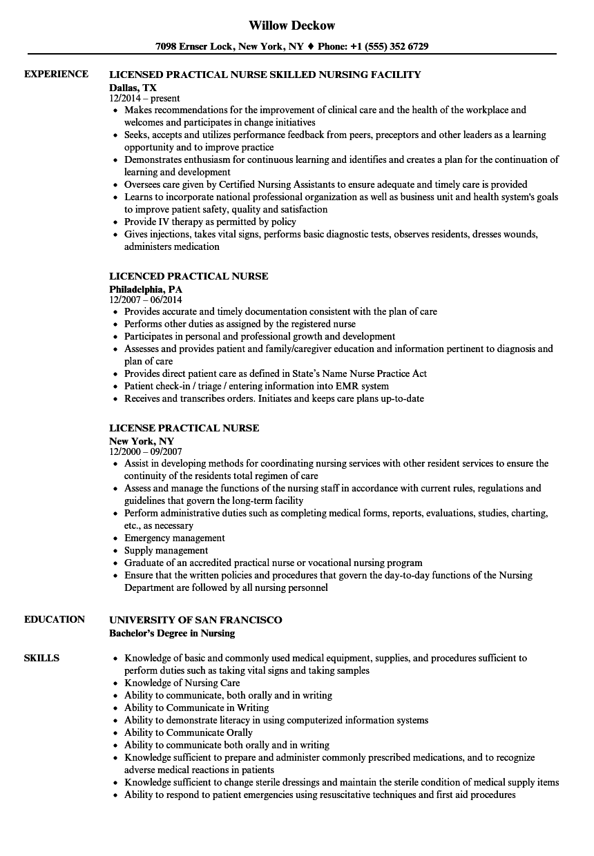 practical nurse resume samples