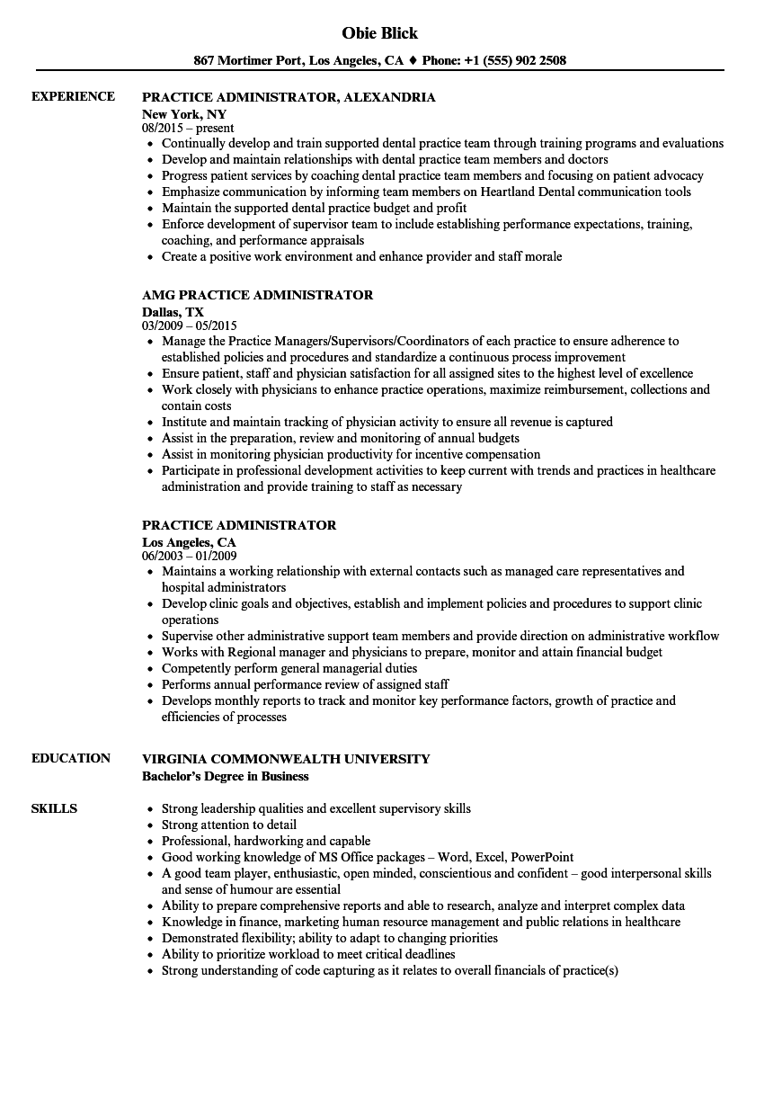 Practice Administrator Resume Samples Velvet Jobs