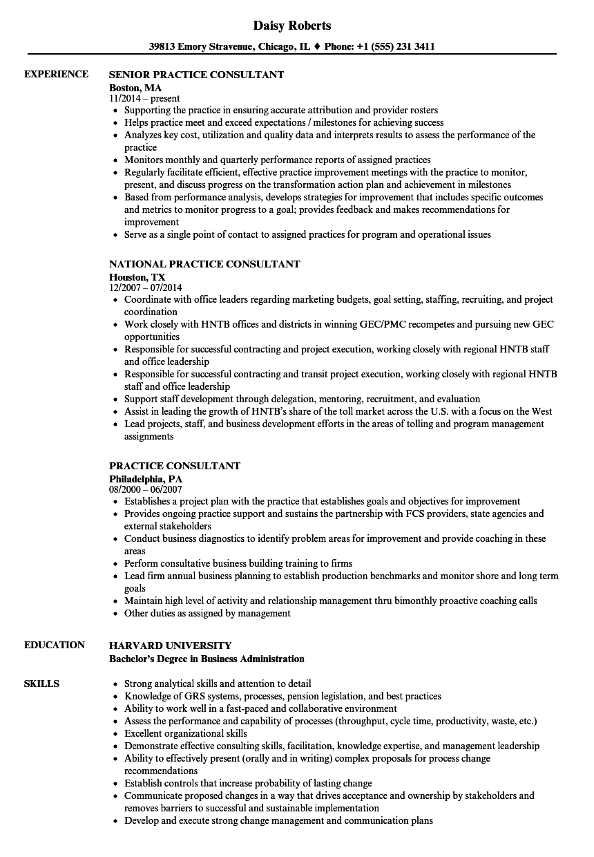 Download Practice Consultant Resume Sample as Image file