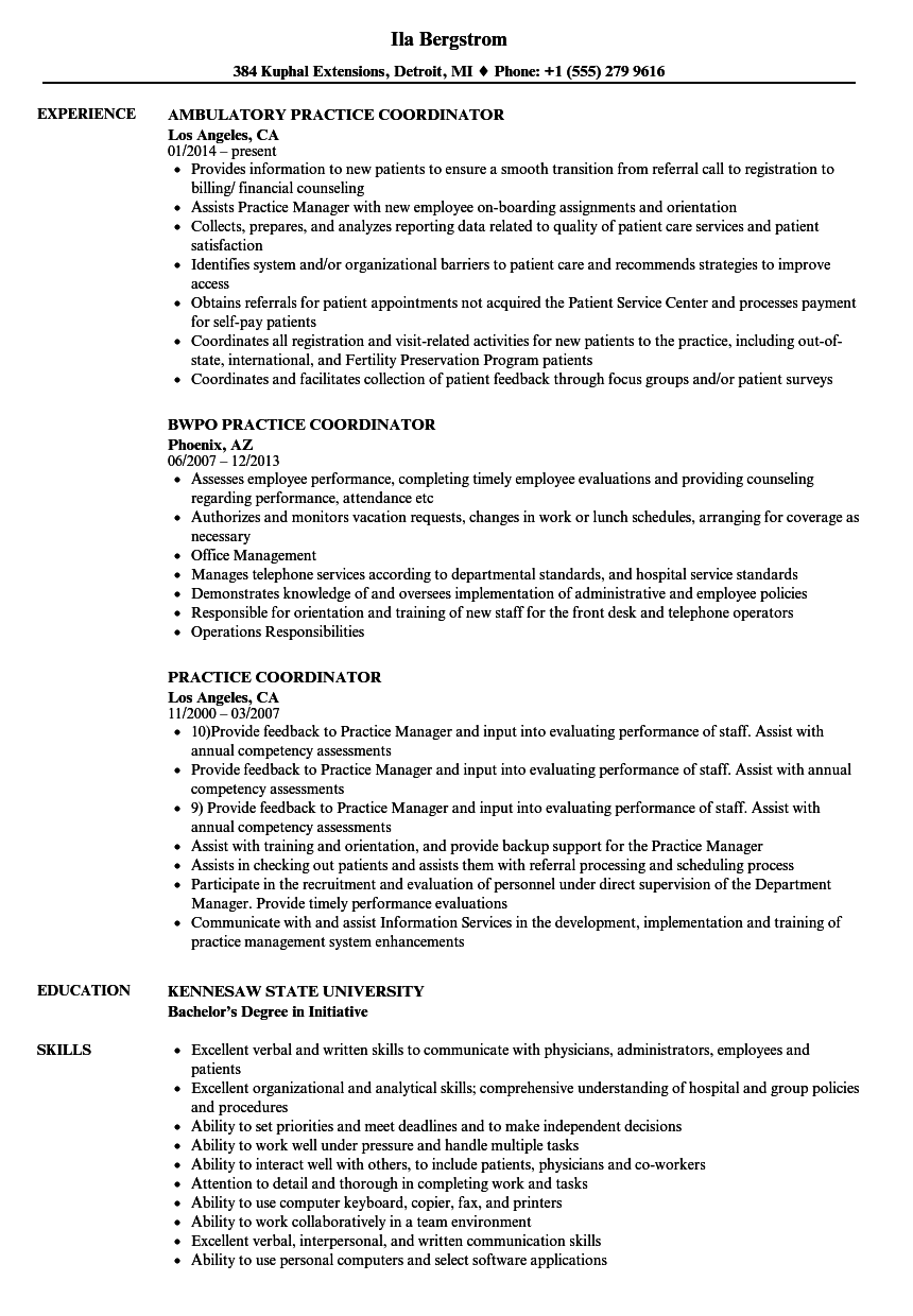 Practice Coordinator Resume Samples Velvet Jobs