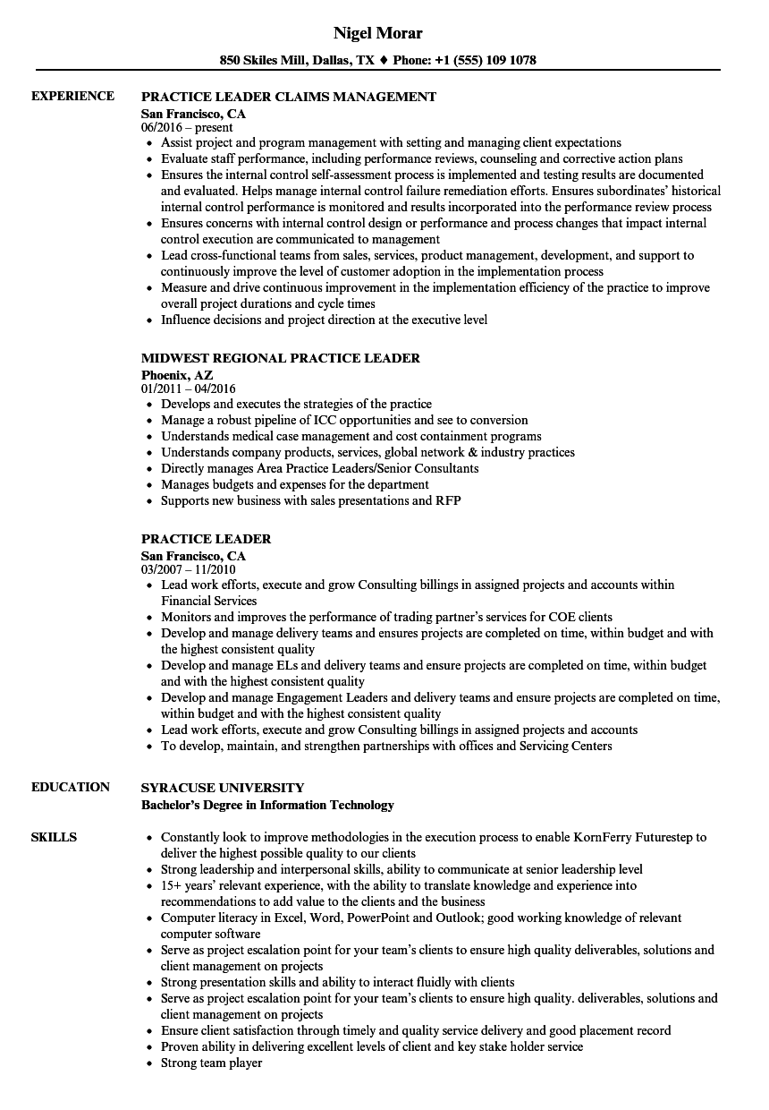 practice leader resume samples