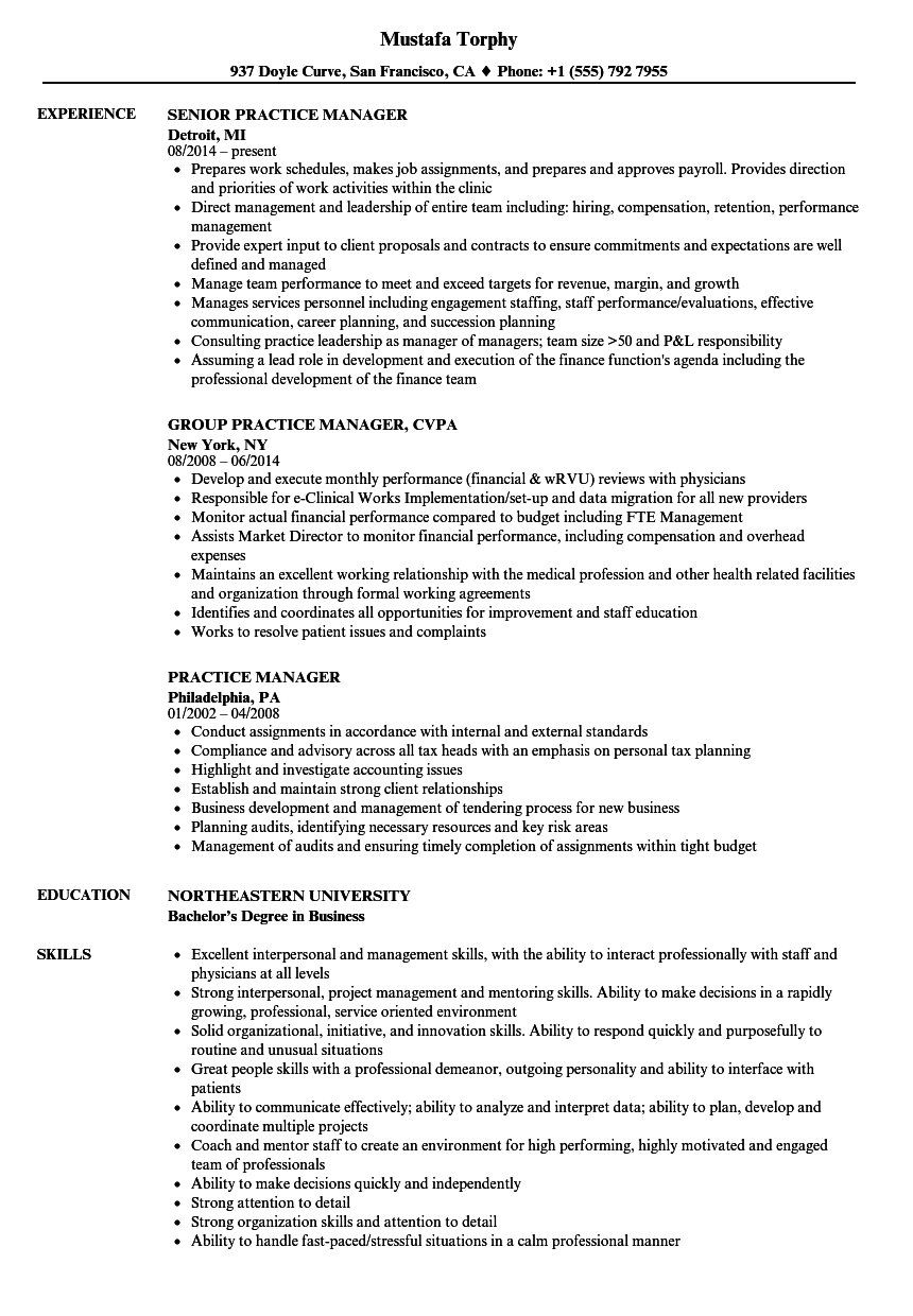 Practice Manager Resume Samples | Velvet Jobs