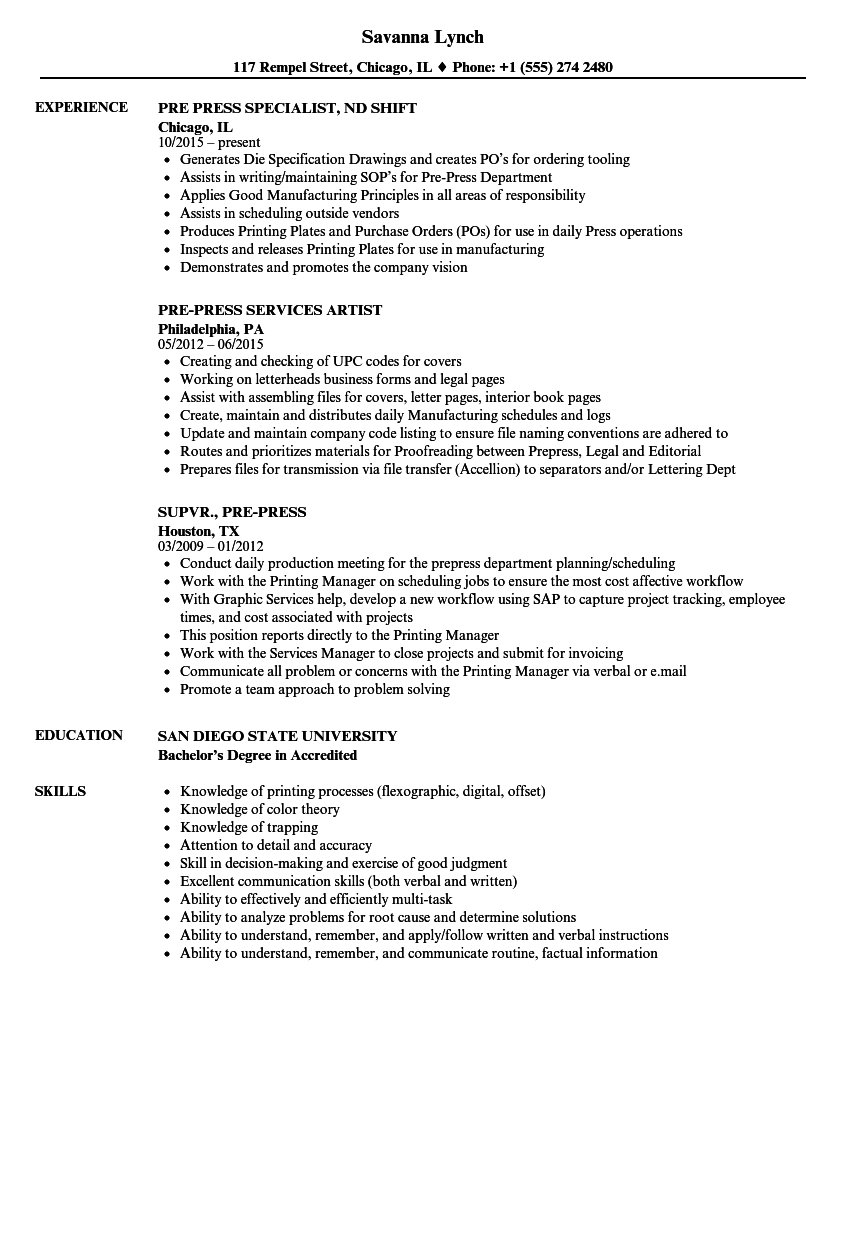 pre press resume samples velvet jobs
