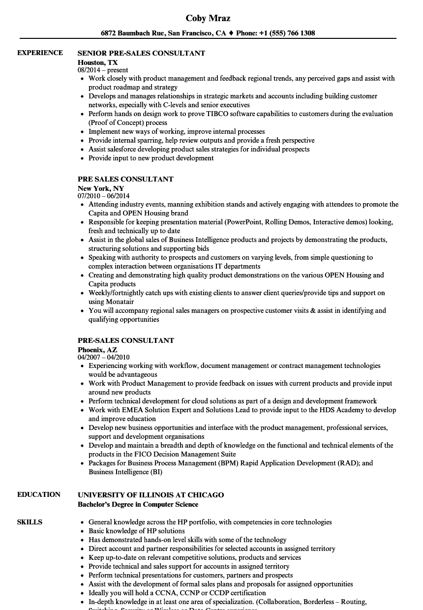 pre sales consultant resume samples velvet jobs