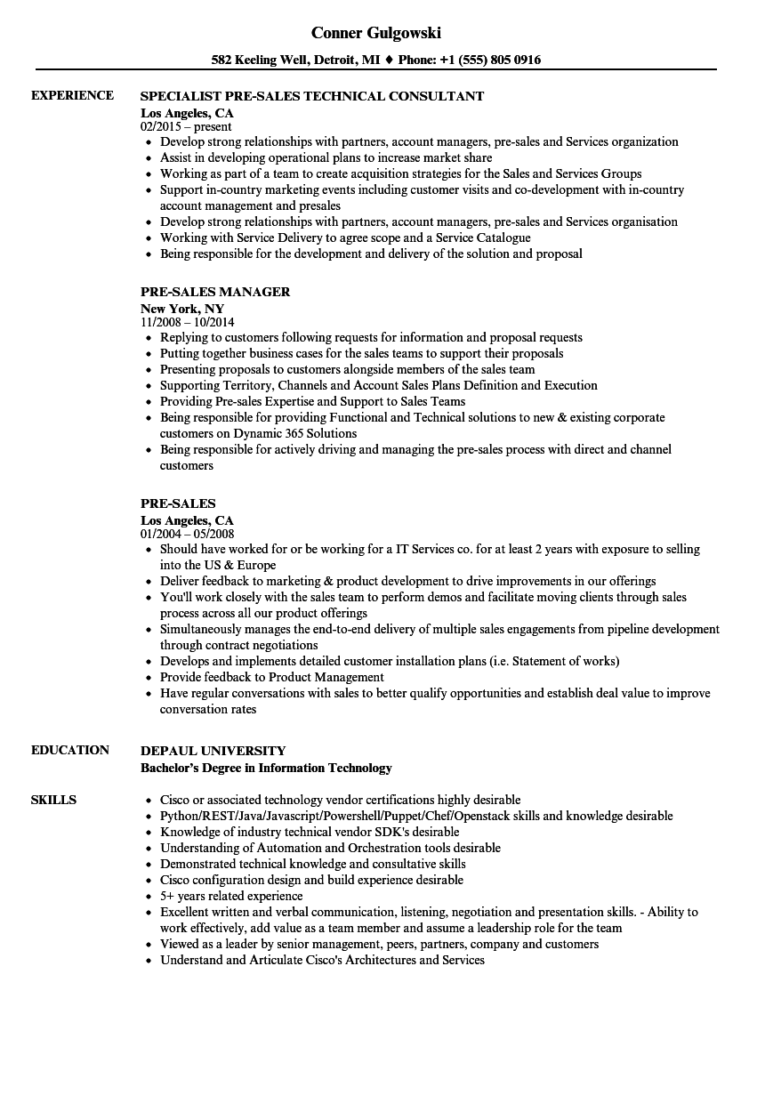 pre sales resume samples velvet jobs