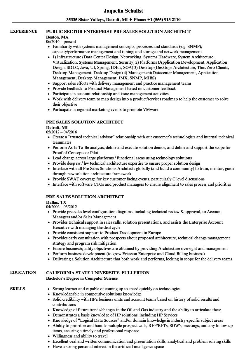 Pre-sales Solution Architect Resume Samples | Velvet Jobs