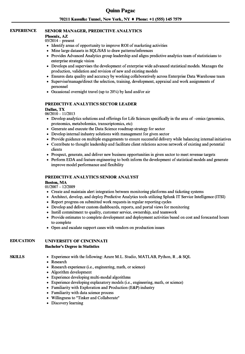 predictive analytics resume samples