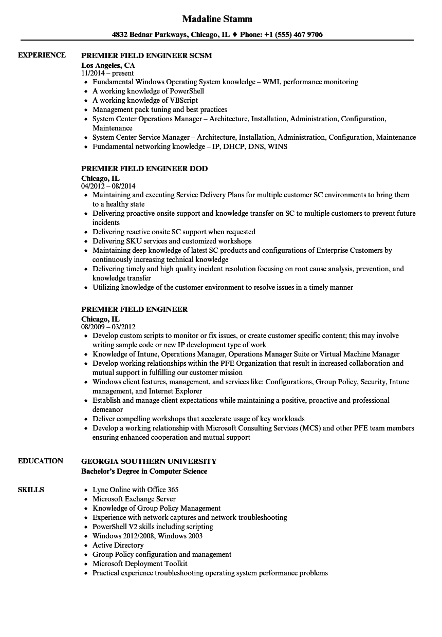 premier field engineer resume samples
