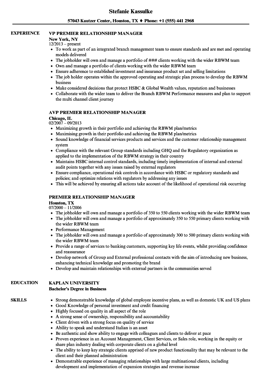 premier relationship manager resume samples