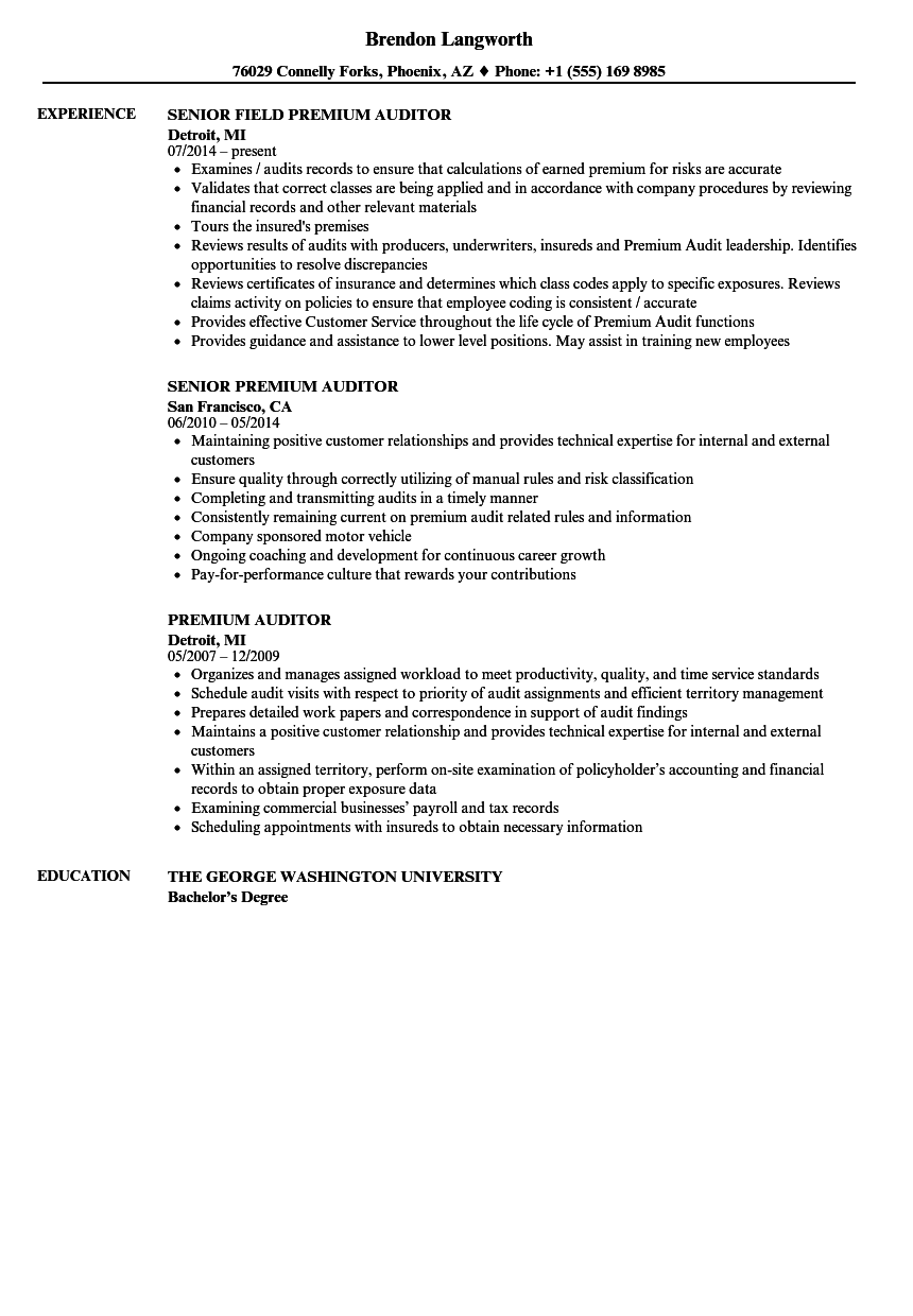 Premium Auditor Resume Samples  Velvet Jobs