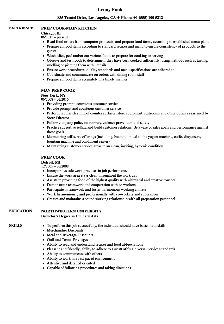 Prep Cook Resume Samples | Velvet Jobs