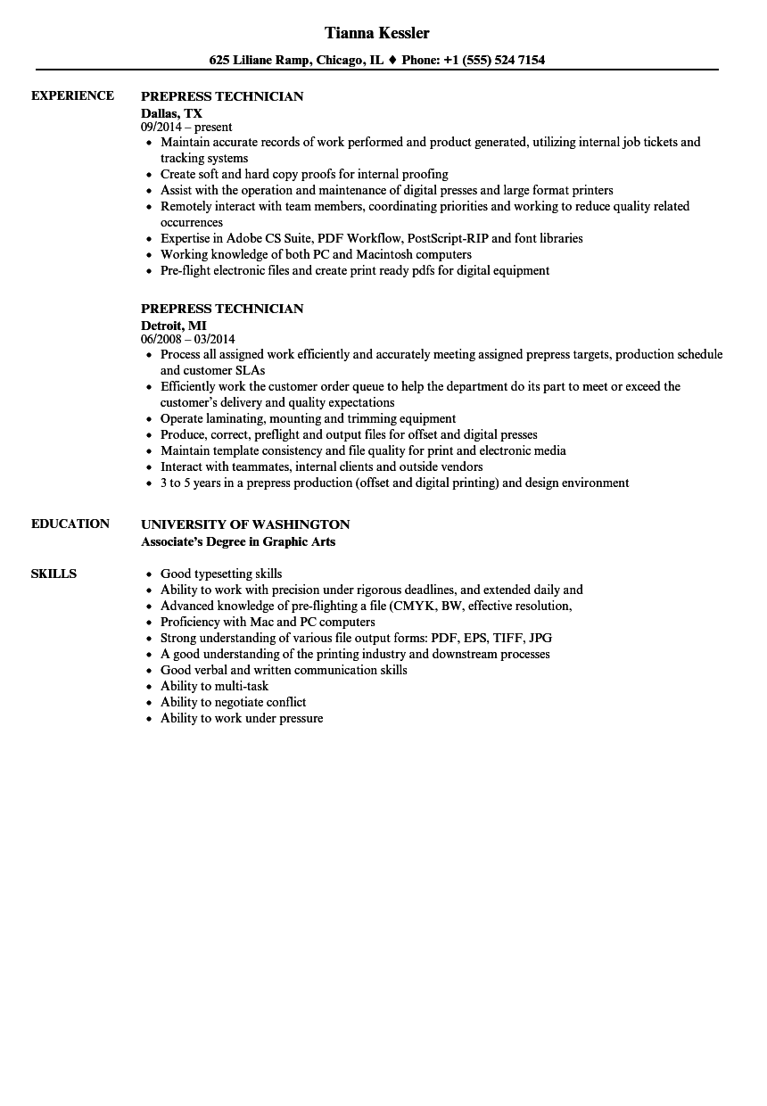 Prepress Technician Resume Samples | Velvet Jobs