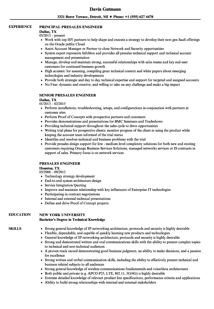 presales engineer resume samples