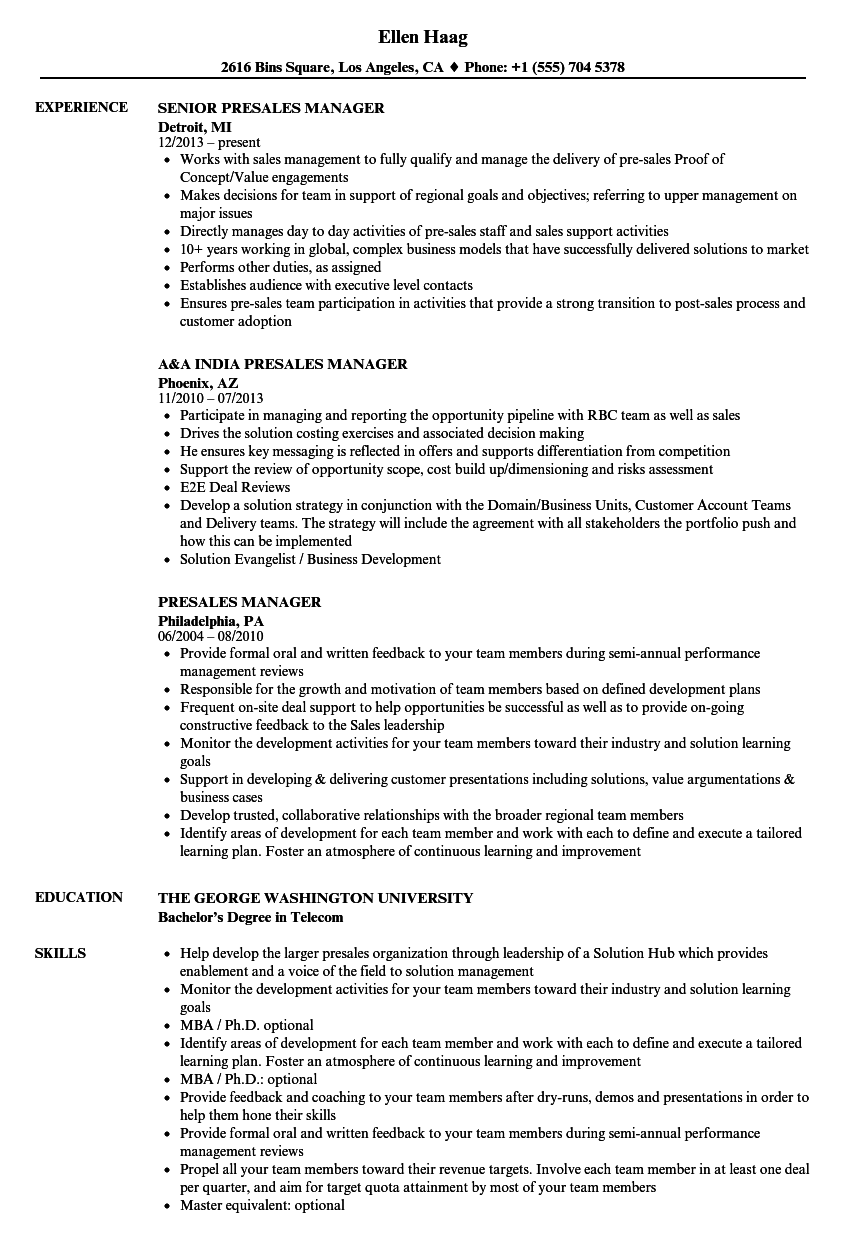 download presales manager resume sample as image file - Sample Resume Pre Sales Manager