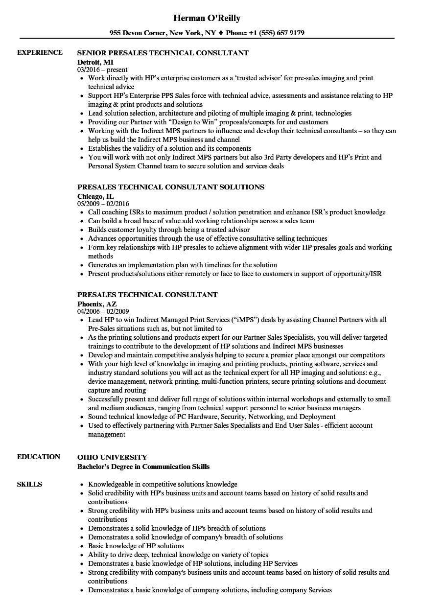 presales technical consultant resume samples