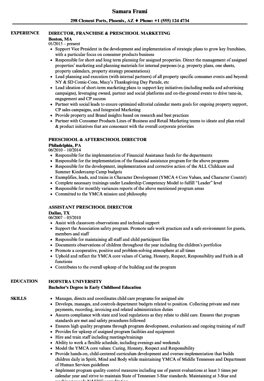 preschool director resume samples