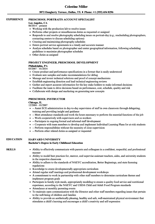 Preschool Resume Samples | Velvet Jobs