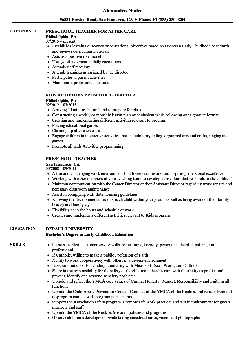 Preschool Teacher Resume Samples Velvet Jobs