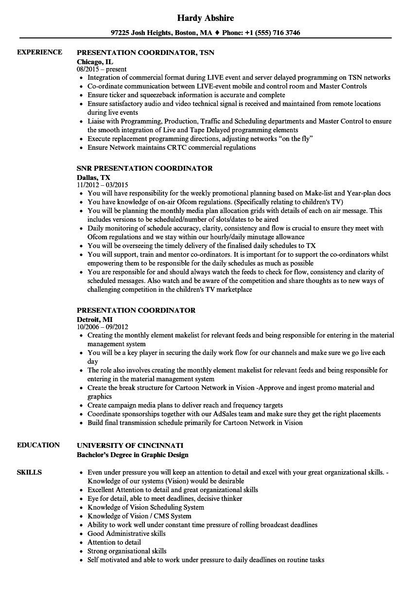 presentation coordinator resume samples