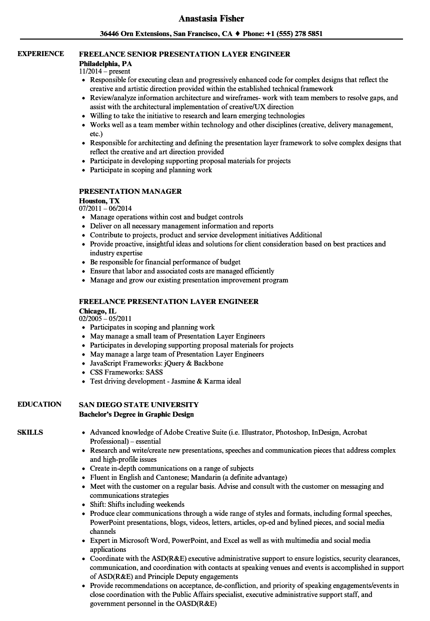 Presentation Resume Samples | Velvet Jobs