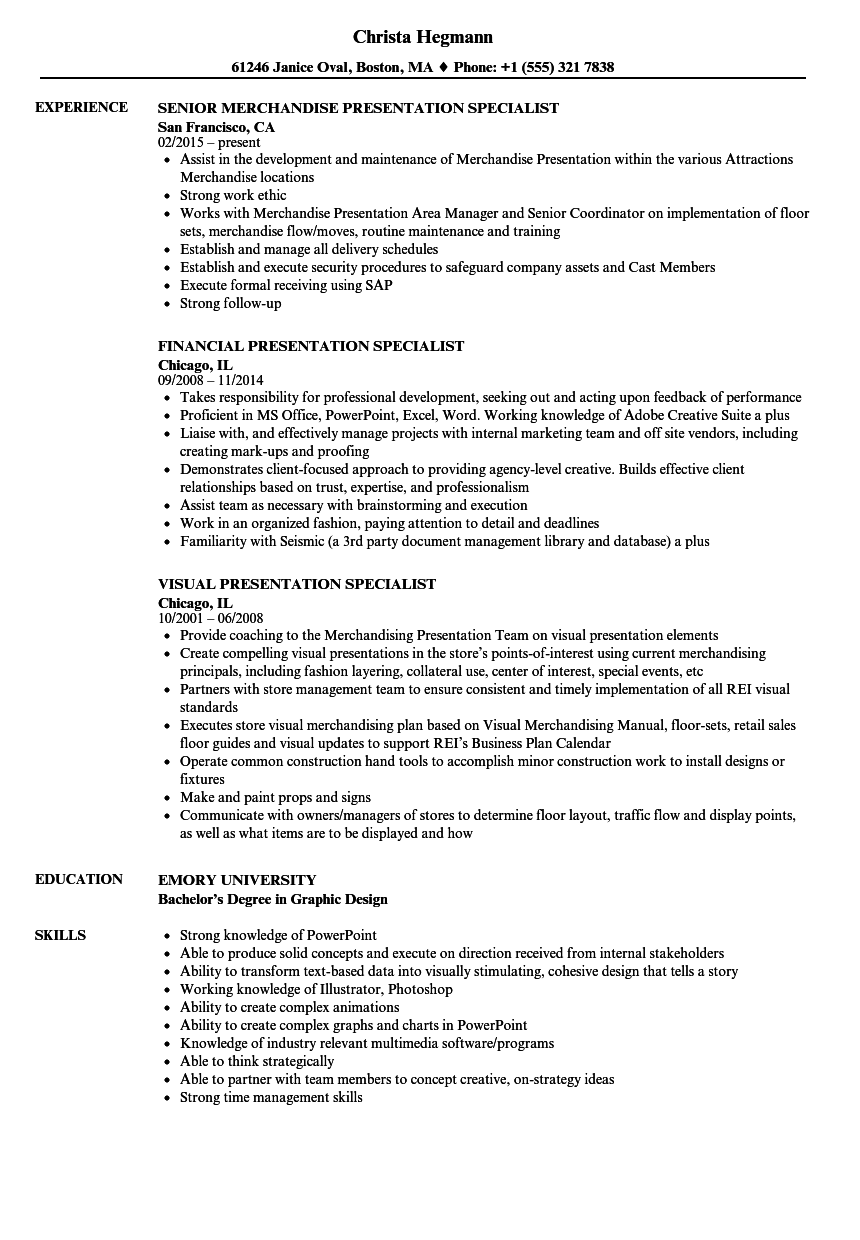 Presentation Specialist Resume Samples Velvet Jobs