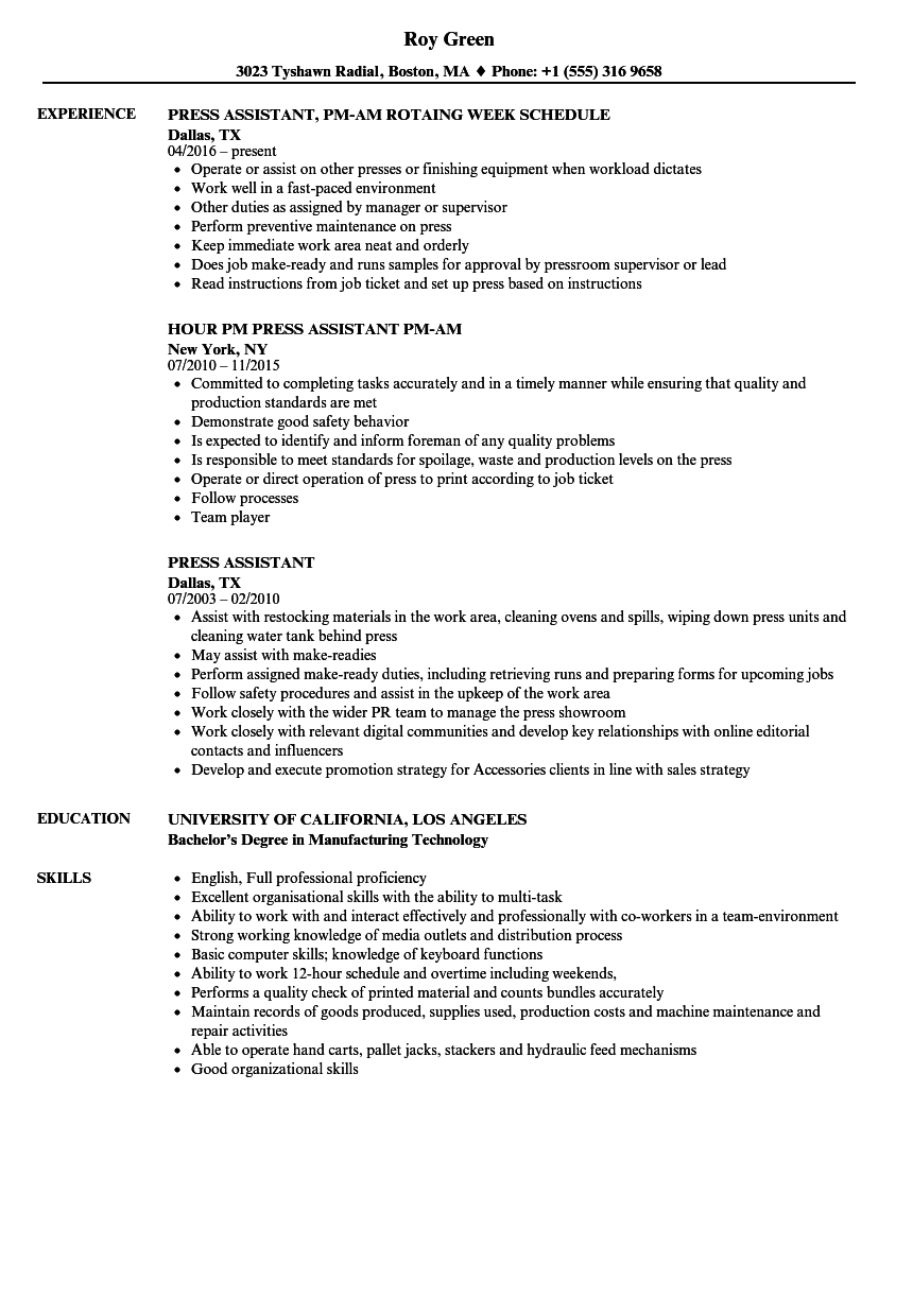Press Assistant Resume Samples | Velvet Jobs