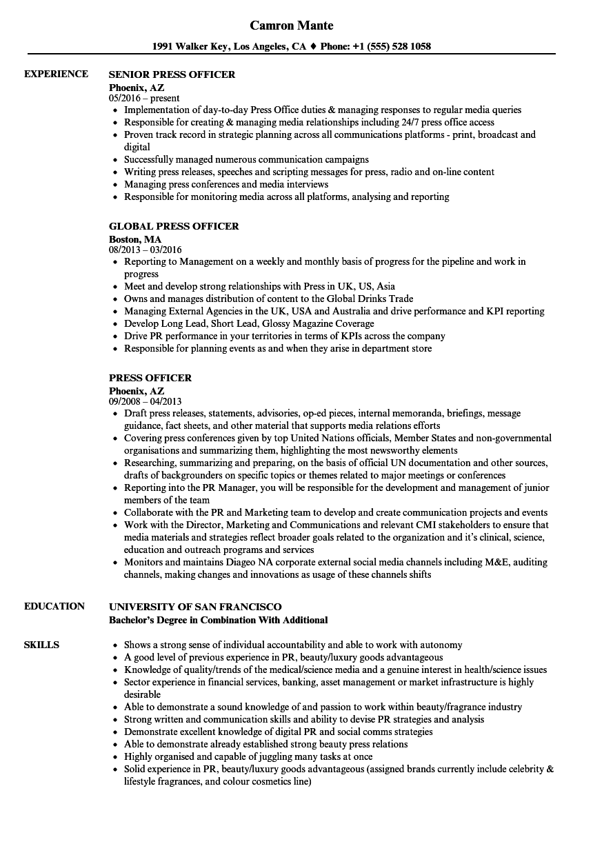 press officer resume samples