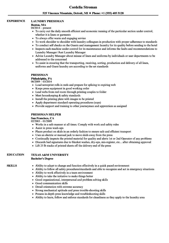 Pressman Resume Samples Velvet Jobs